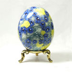 Art Egg with Blue Hibiscus and Yellow Roses