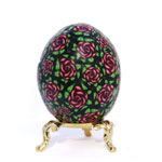 Alizaron Crimson Roses in Chintz Pattern Art Egg