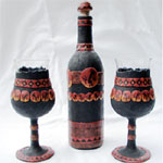 Wine Glasses Goblet and Bottles