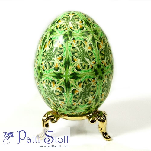 Green Kaleidoscope Design Art Egg - Click Image to Close