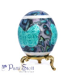Abalone Art Egg With Butterfly Mosaic